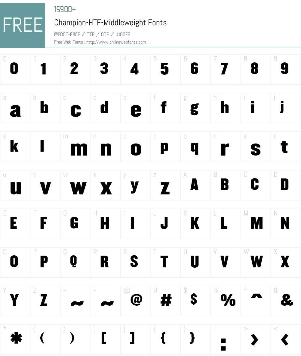Champion Font Screenshots
