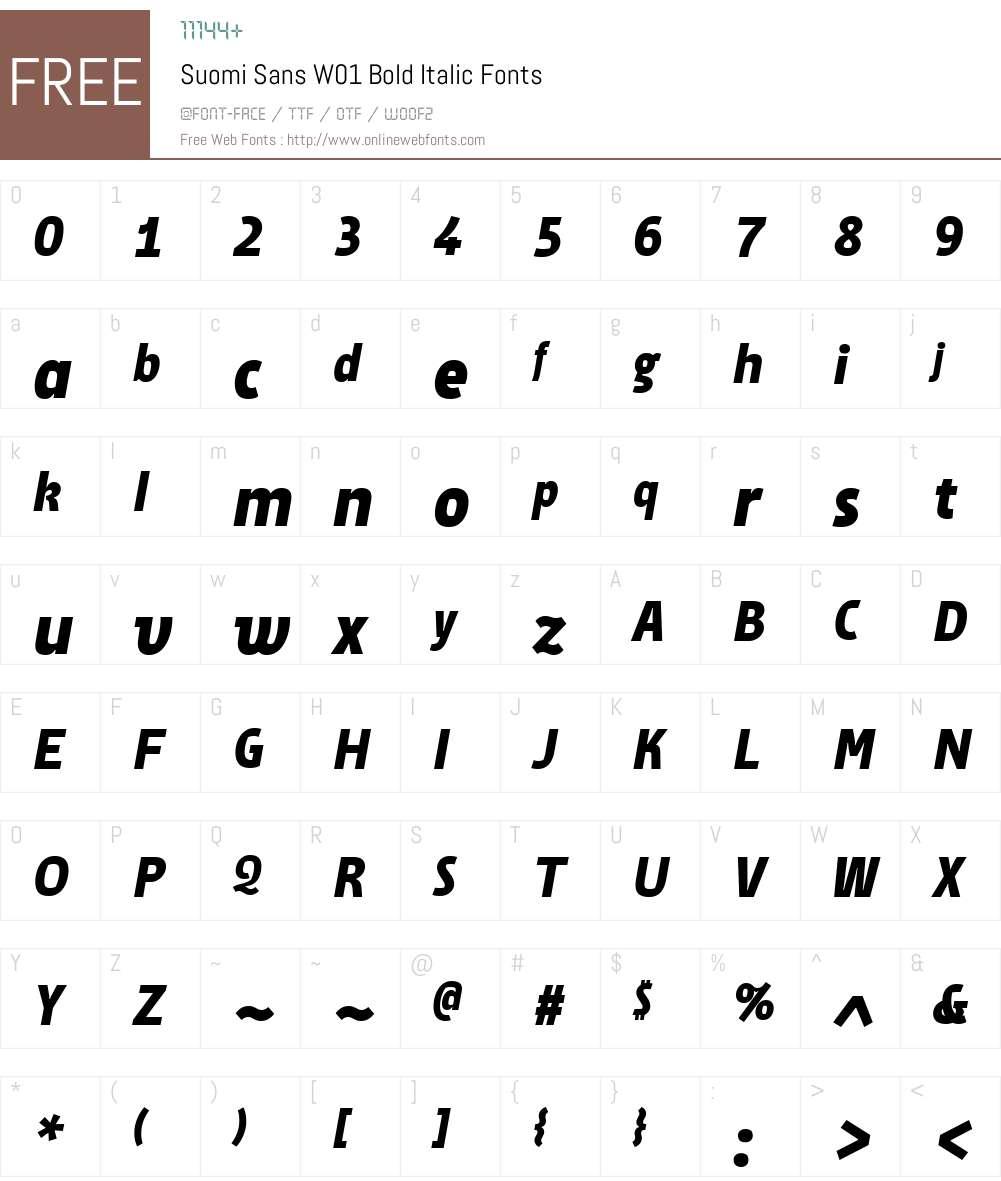 SuomiSansW01-BoldItalic Font Screenshots