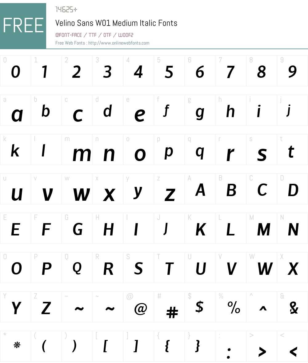 VelinoSansW01-MediumItalic Font Screenshots