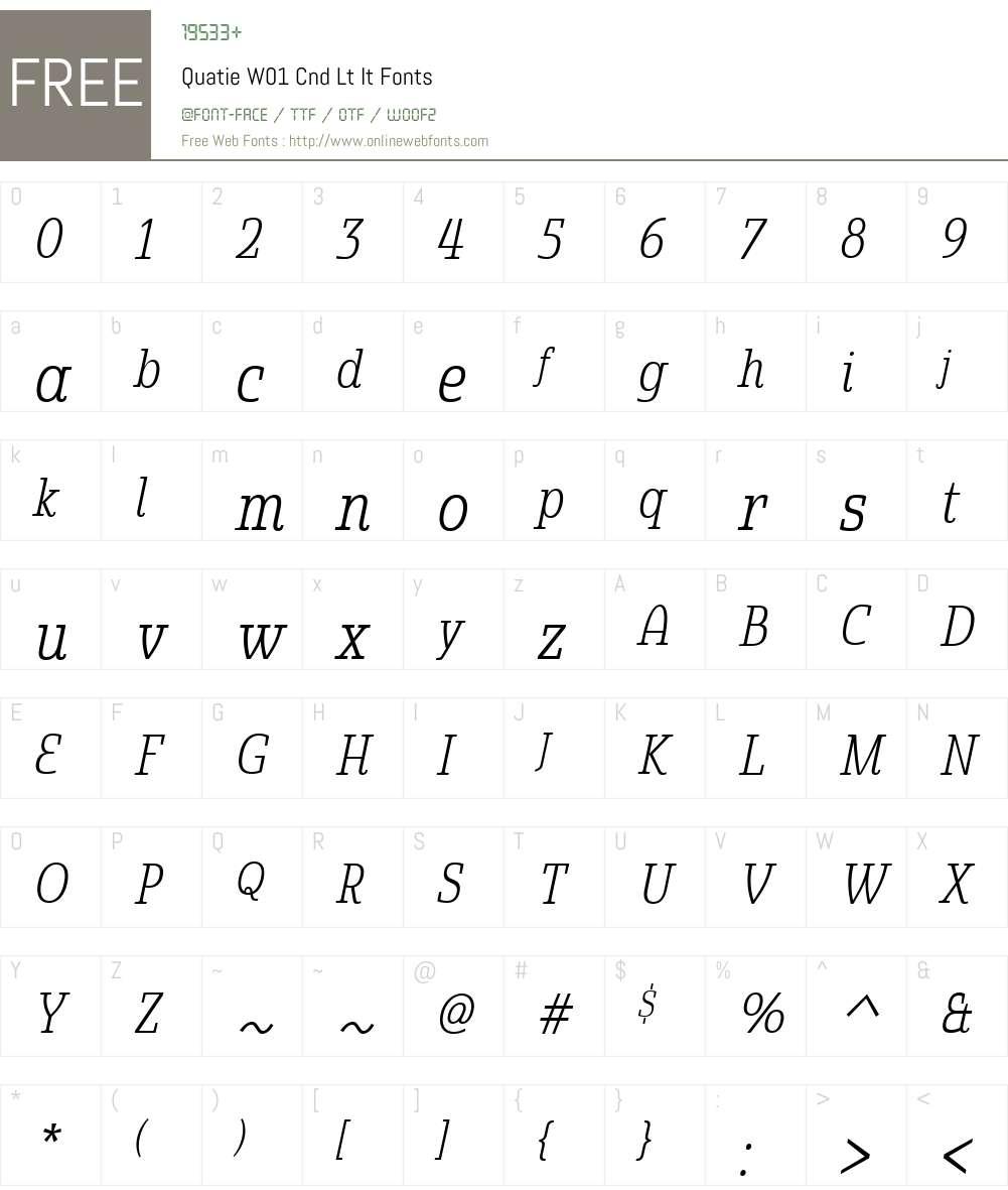 QuatieW01-CndLtIt Font Screenshots