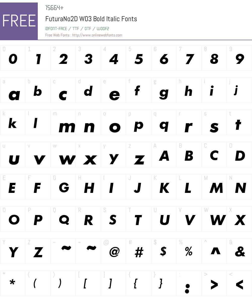 FuturaNo2DW03-BoldItalic Font Screenshots