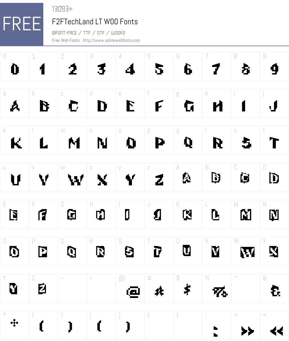 F2FTechLandLTW00 Font Screenshots