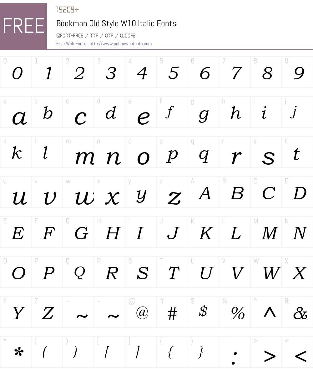 BookmanOldStyleW10-Italic Font Screenshots