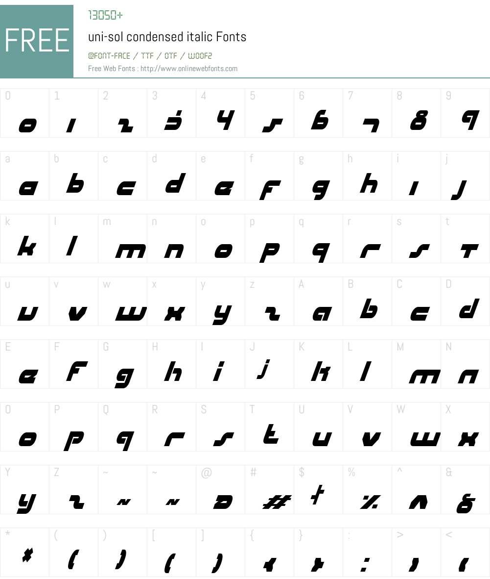 uni-sol condensed italic Font Screenshots