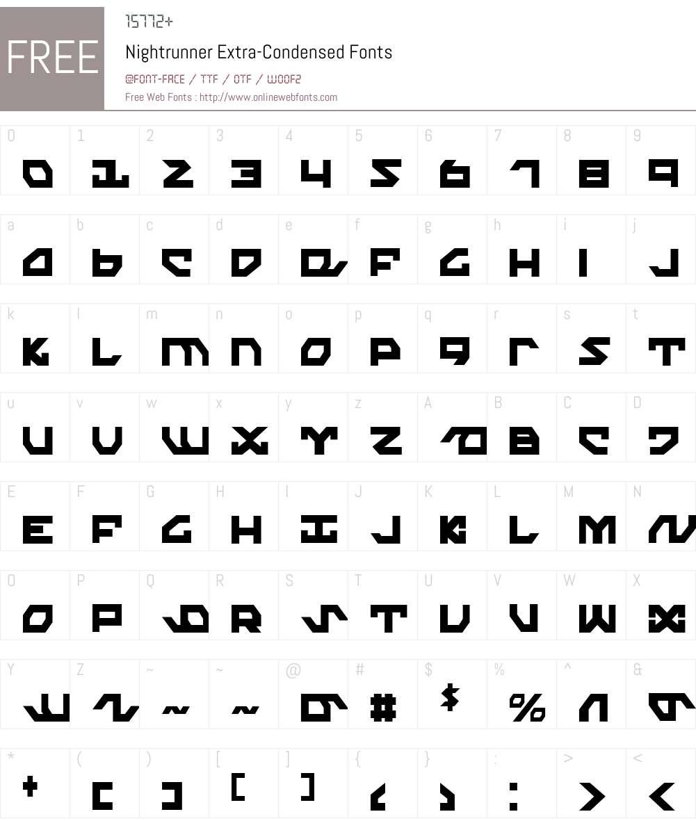 Nightrunner Extra-Condensed Font Screenshots