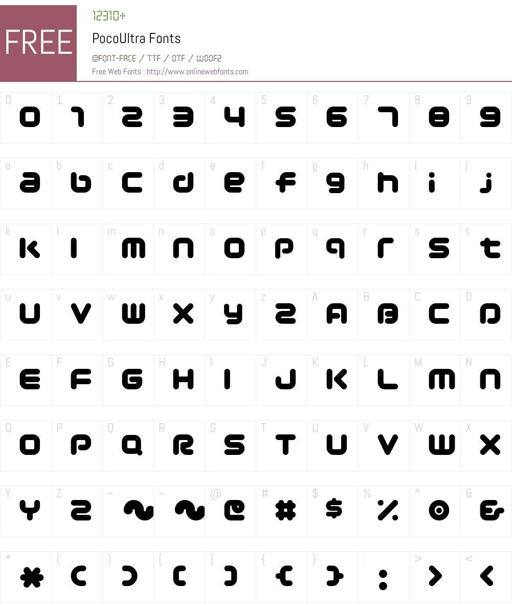 PocoUltra Font Screenshots