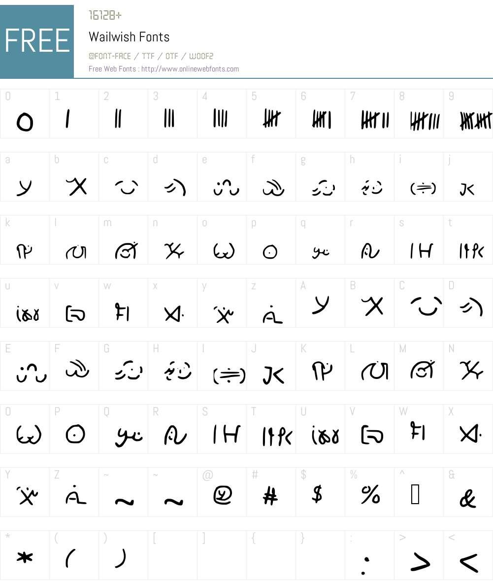 Wailwish Font Screenshots