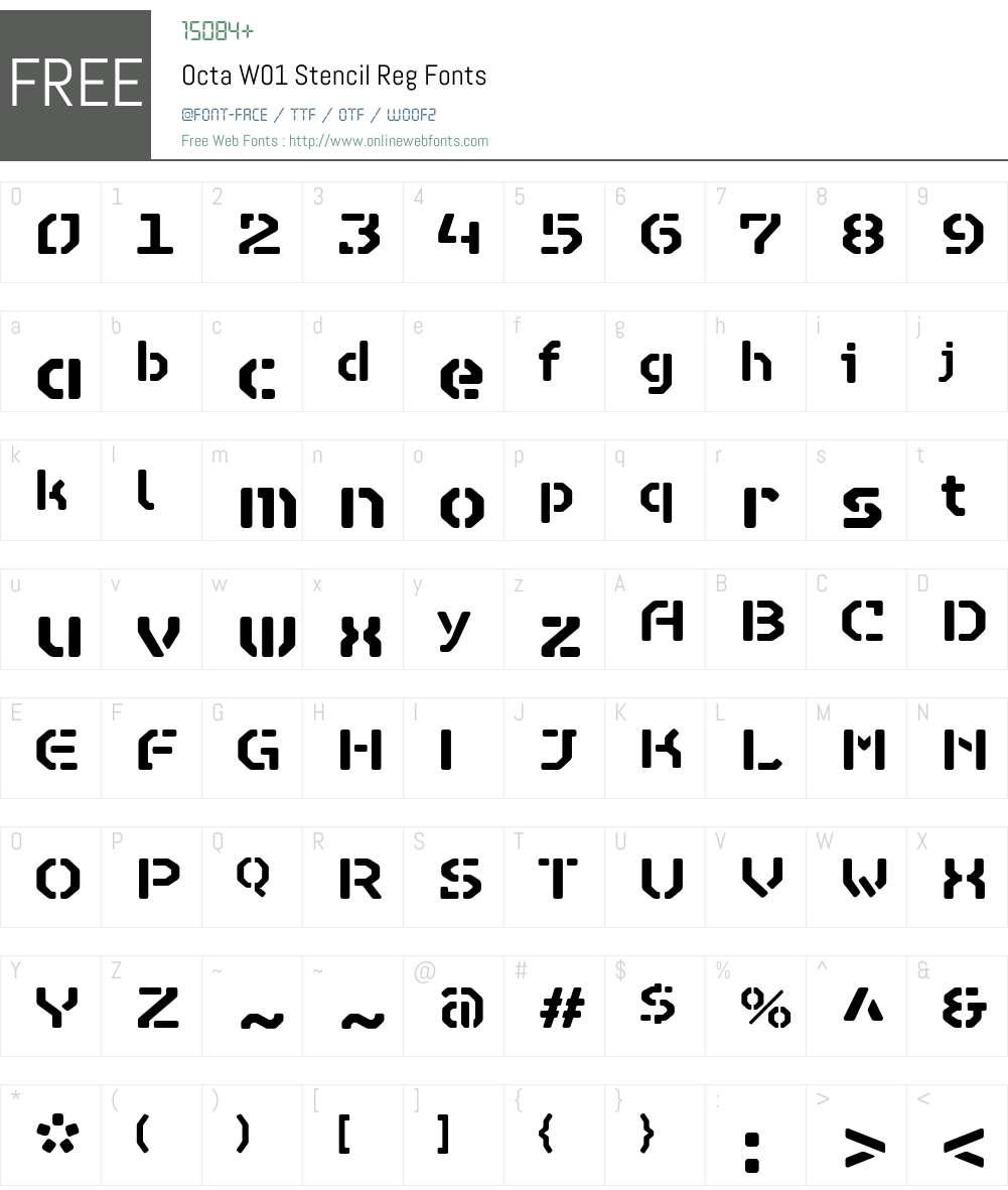 OctaW01-StencilReg Font Screenshots