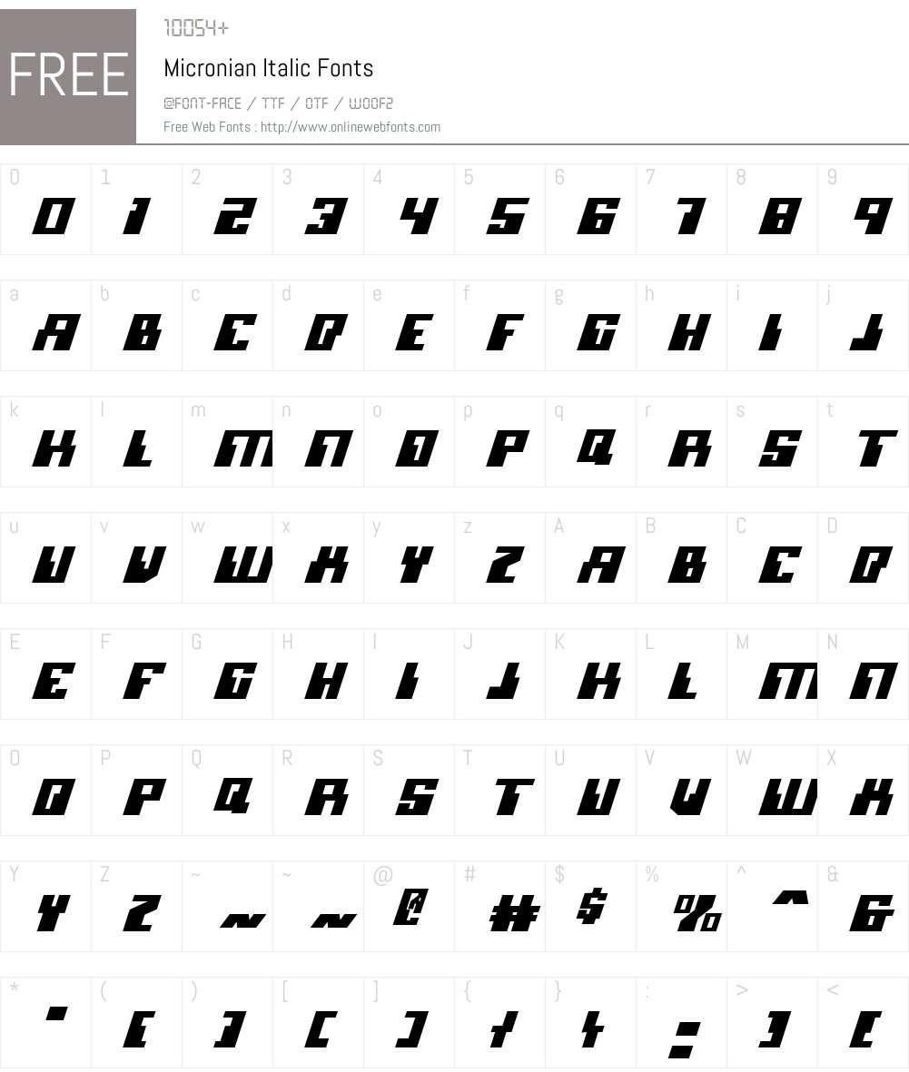 Micronian Italic Font Screenshots