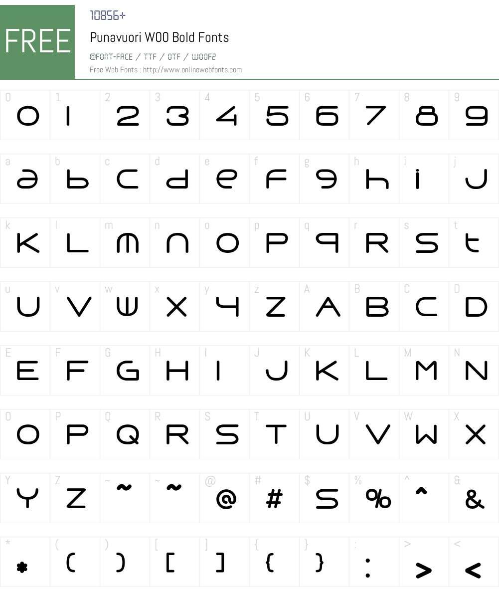 PunavuoriW00-Bold Font Screenshots
