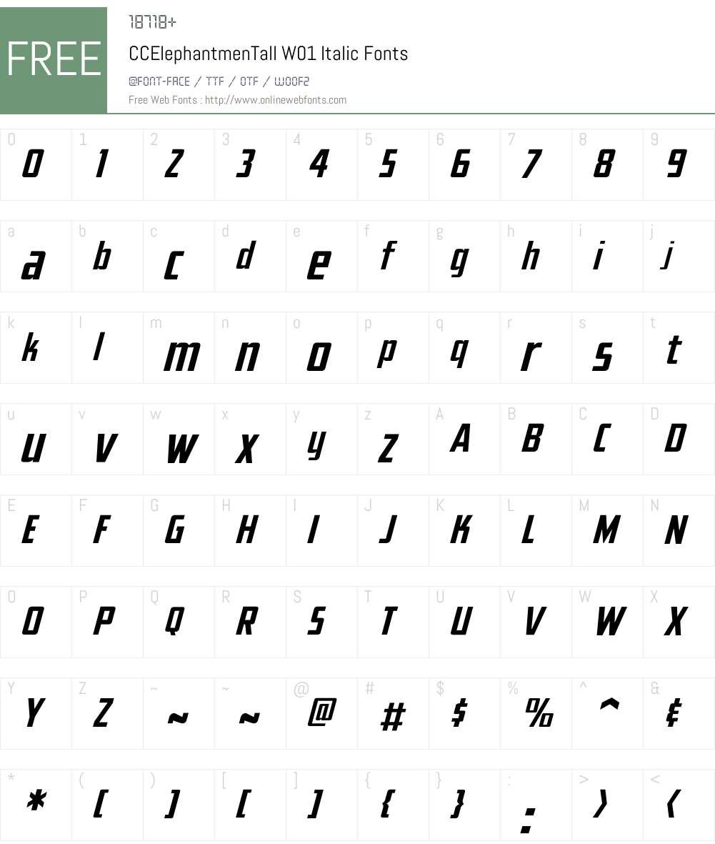 CCElephantmenTallW01-It Font Screenshots