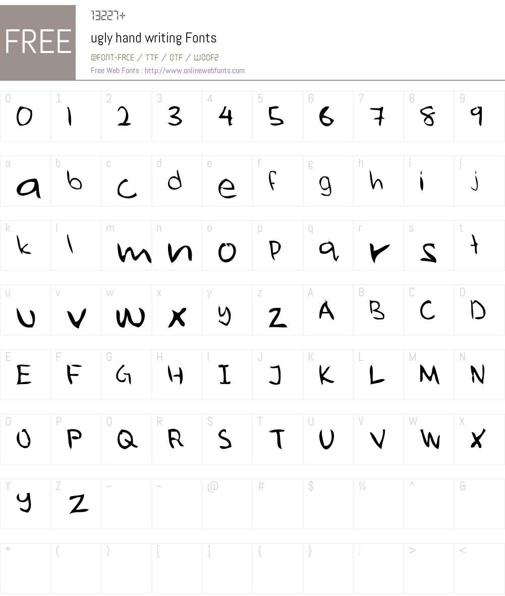 ugly hand writing Font Screenshots