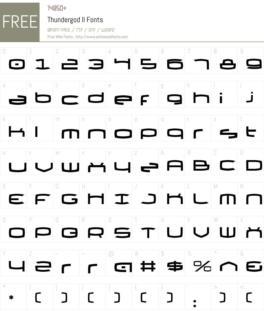 Thundergod II Font Screenshots