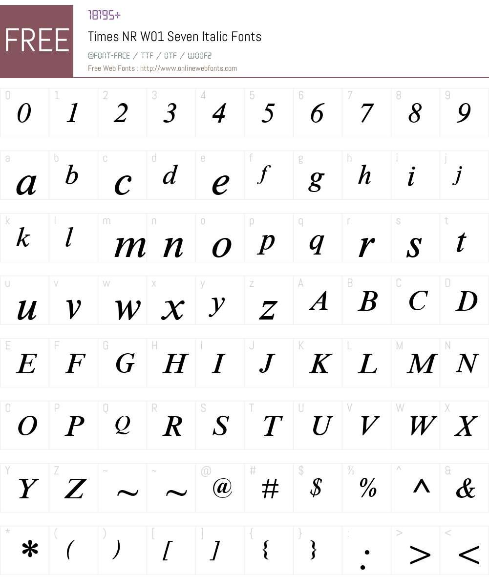 TimesNRW01-SevenItalic Font Screenshots