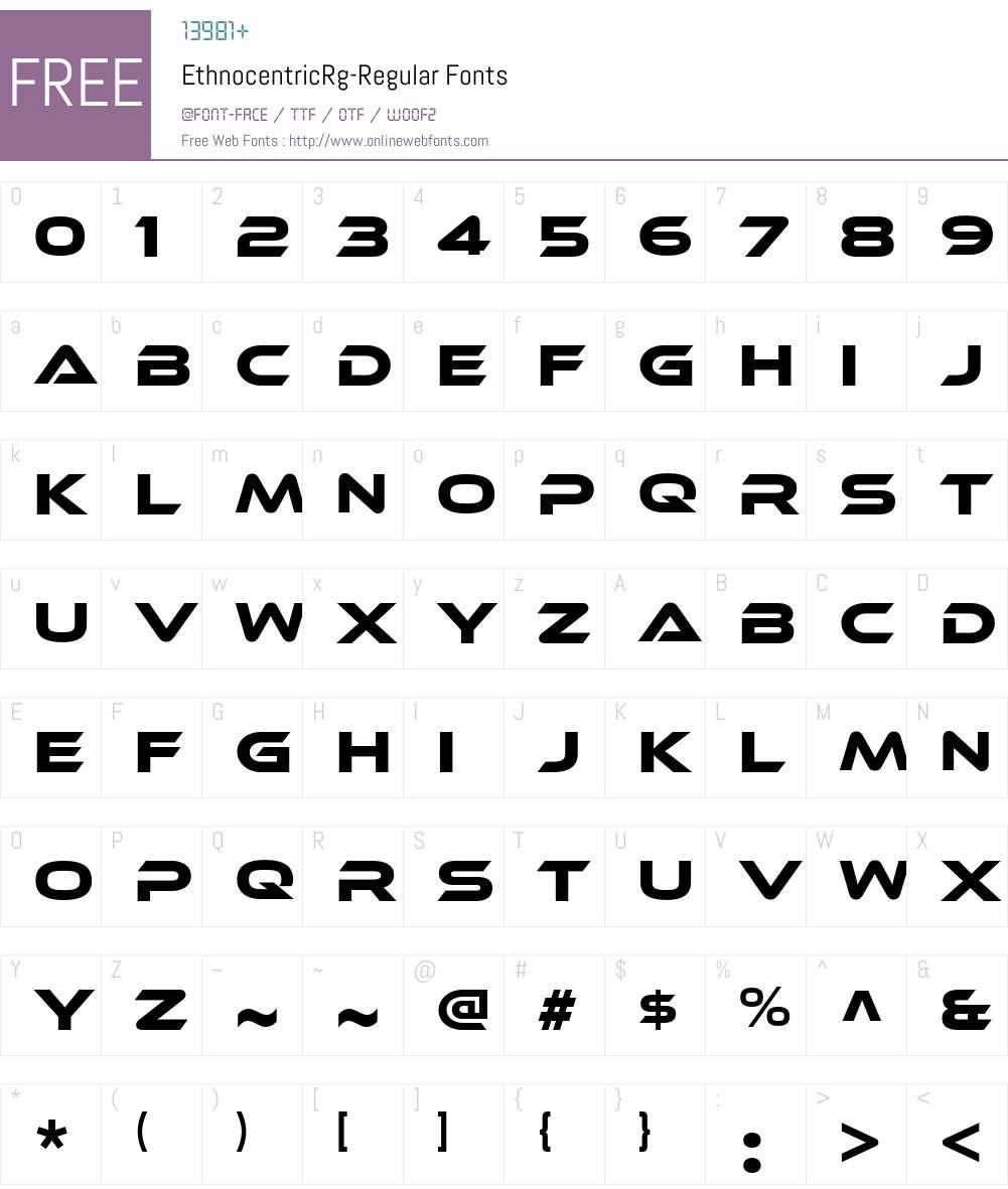 Ethnocentric Font Screenshots