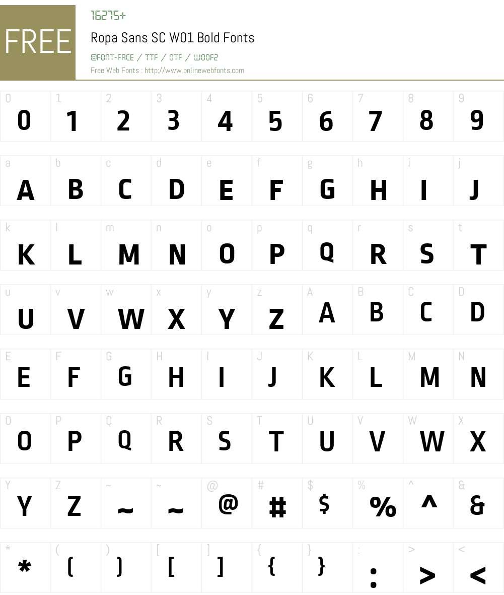 RopaSansSCW01-Bold Font Screenshots