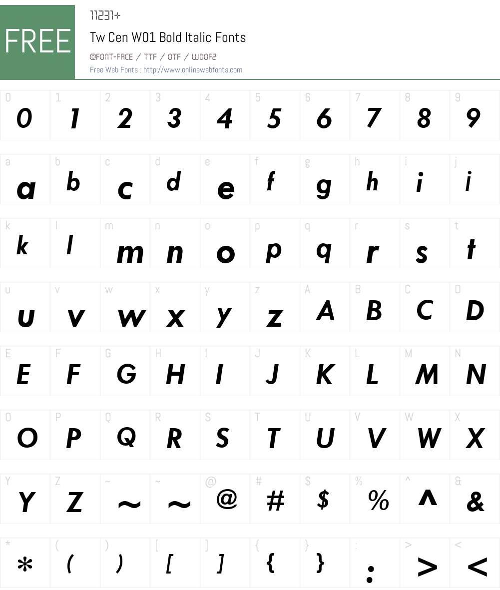 TwCenW01-BoldItalic Font Screenshots