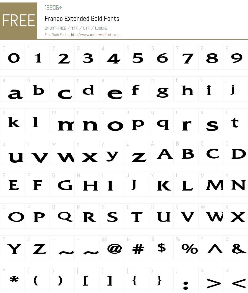 Franco Extended Font Screenshots