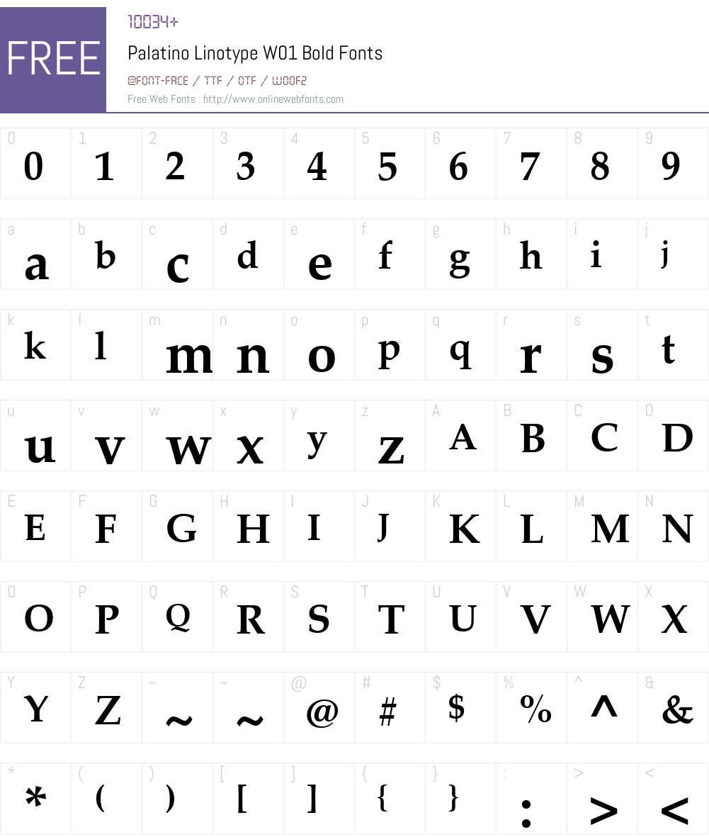 PalatinoLinotypeW01-Bold Font Screenshots