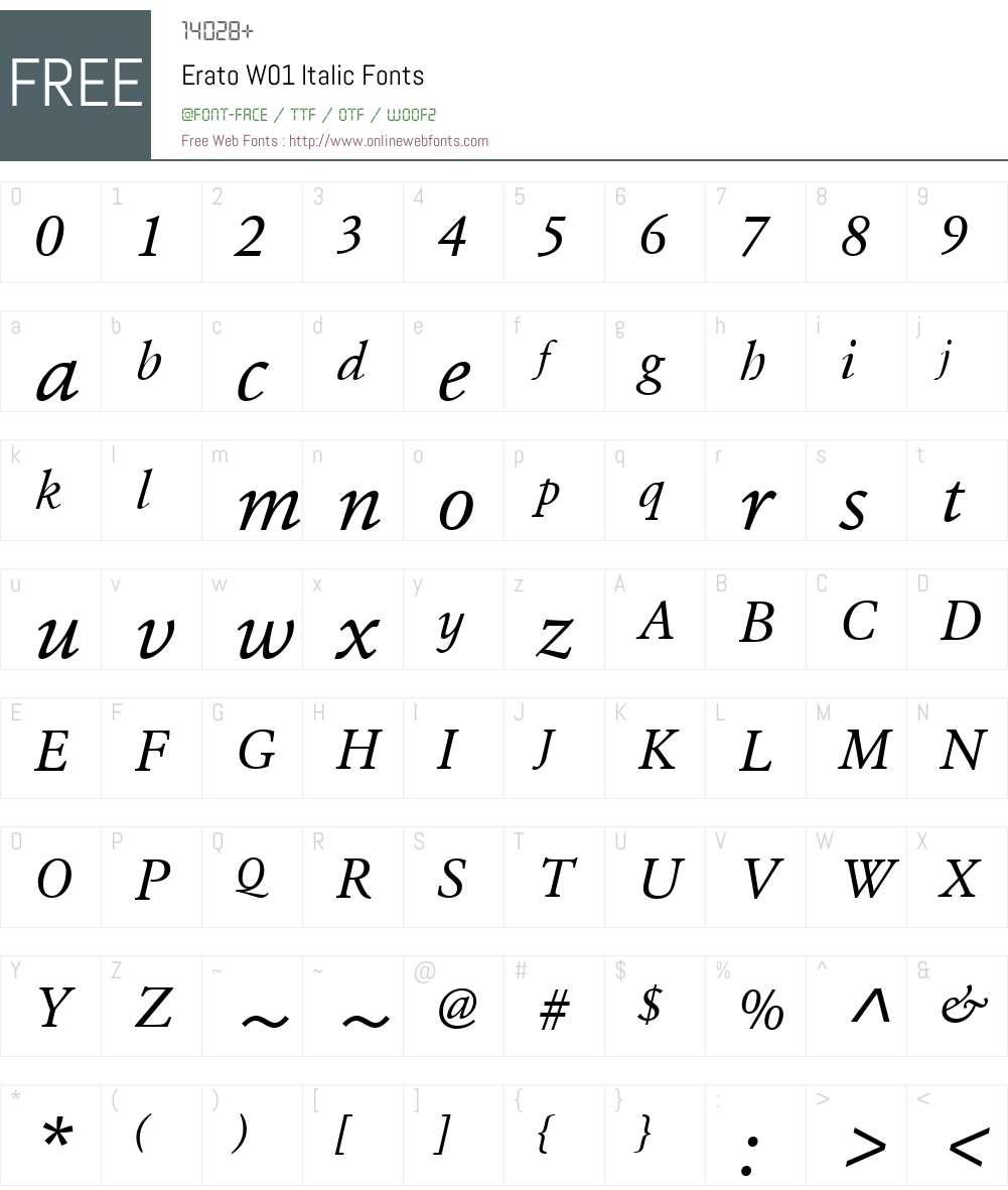 EratoW01-Italic Font Screenshots