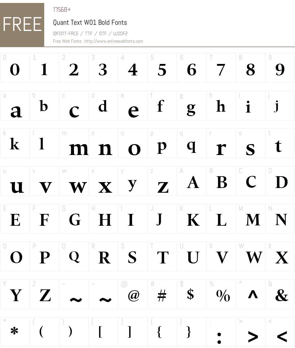 QuantTextW01-Bold Font Screenshots