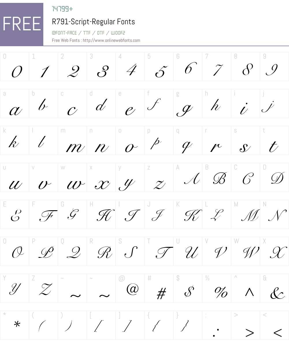 R791-Script Font Screenshots
