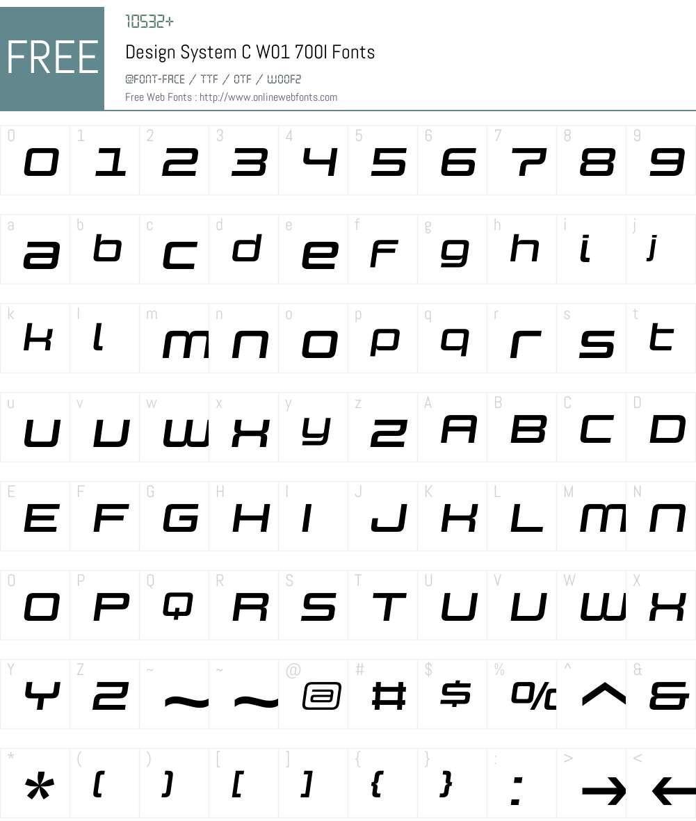 DesignSystemCW01-700I Font Screenshots