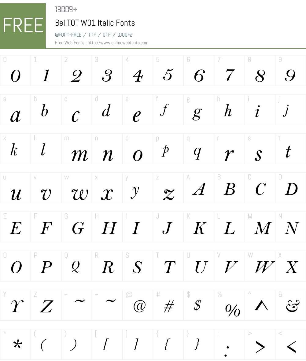 BellTOTW01-Italic Font Screenshots