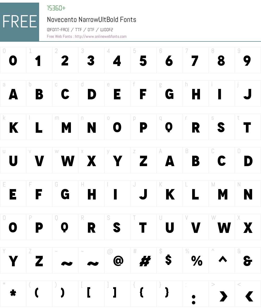 Novecento Narrow UltraBold Font Screenshots