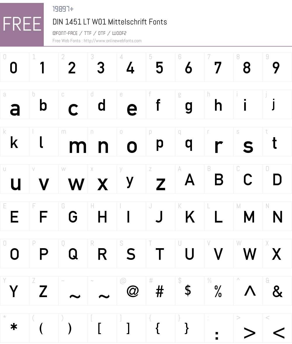 DIN1451LTW01-Mittelschrift Font Screenshots
