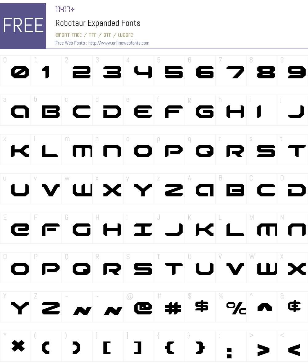 Robotaur Expanded Font Screenshots