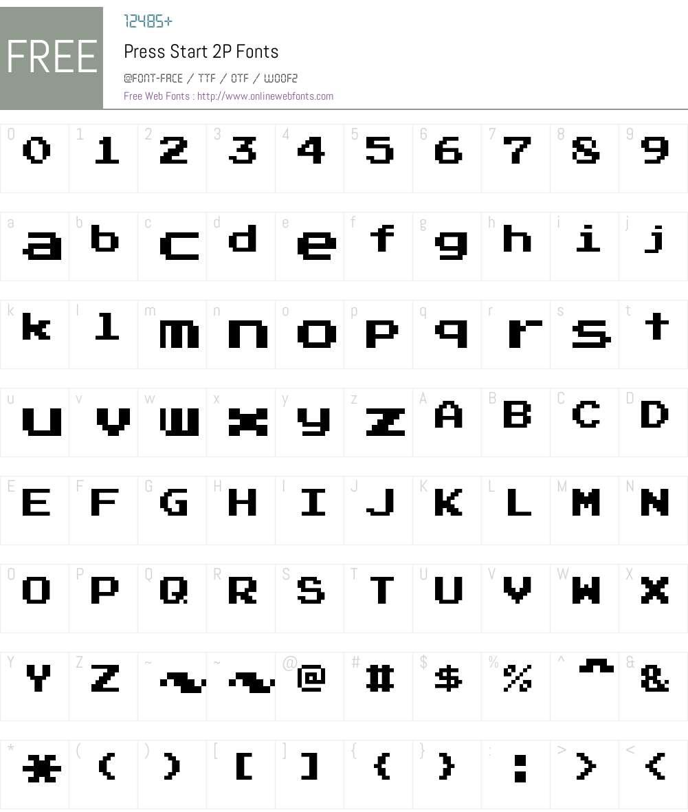Press Start 2P Font Screenshots