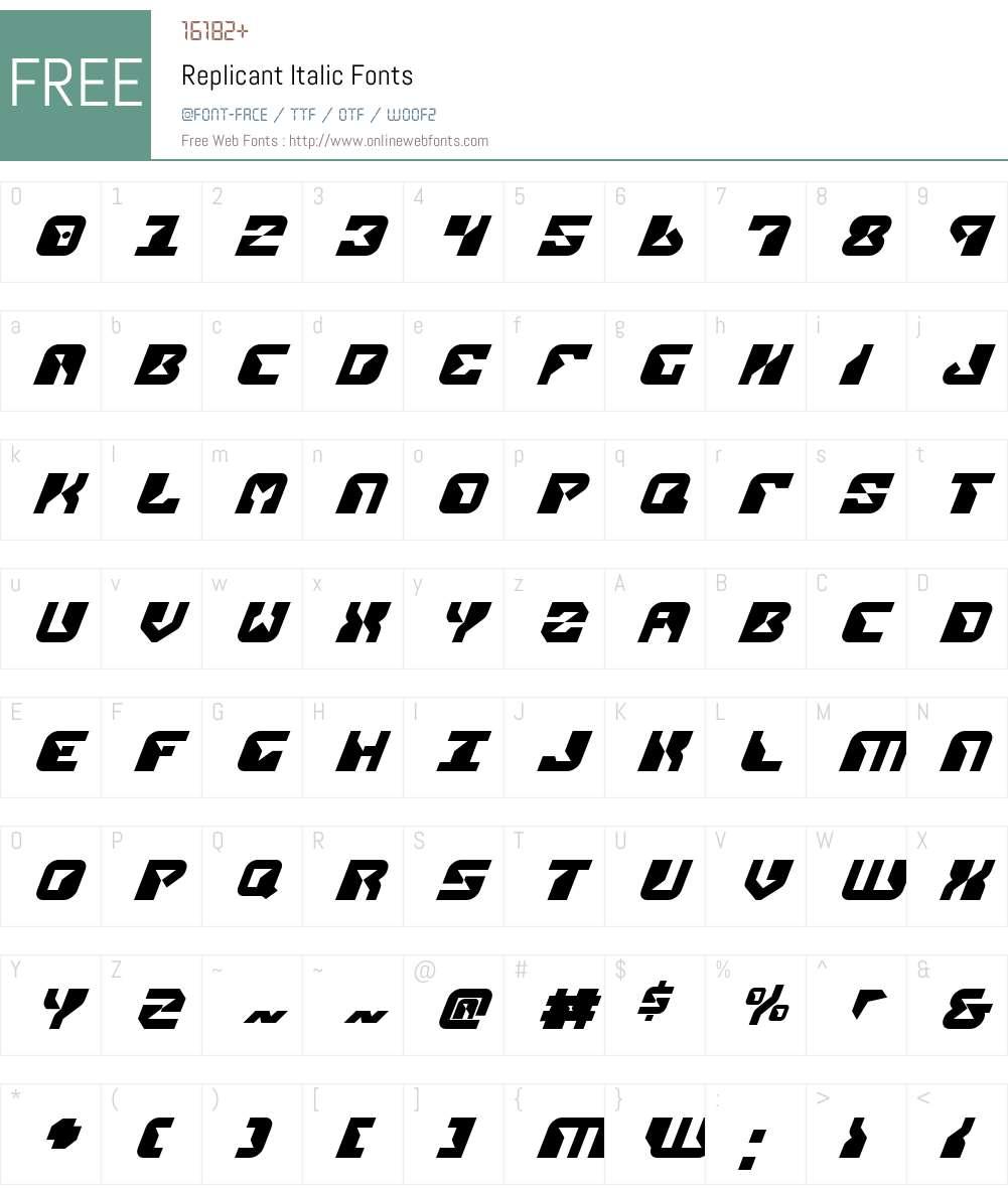 Replicant Italic Font Screenshots