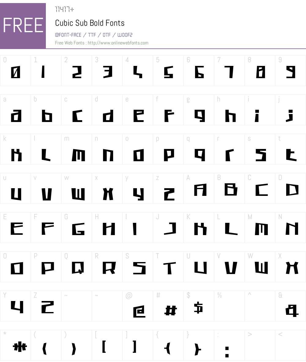 Cubic Sub Bold Font Screenshots