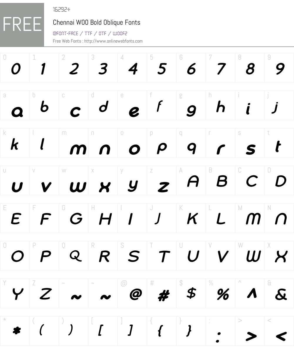 Chennai Bold Oblique Font Screenshots