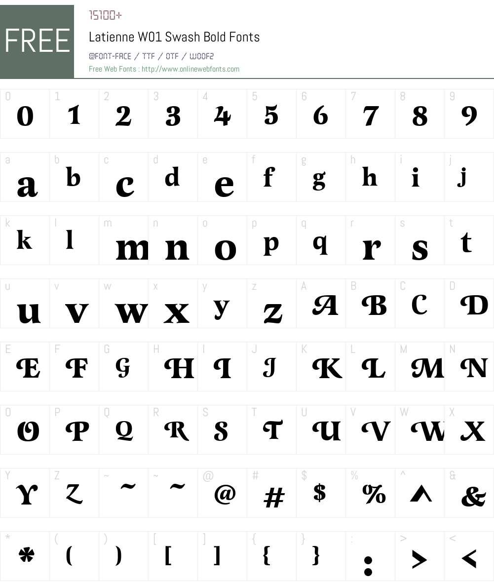 LatienneW01-SwashBold Font Screenshots