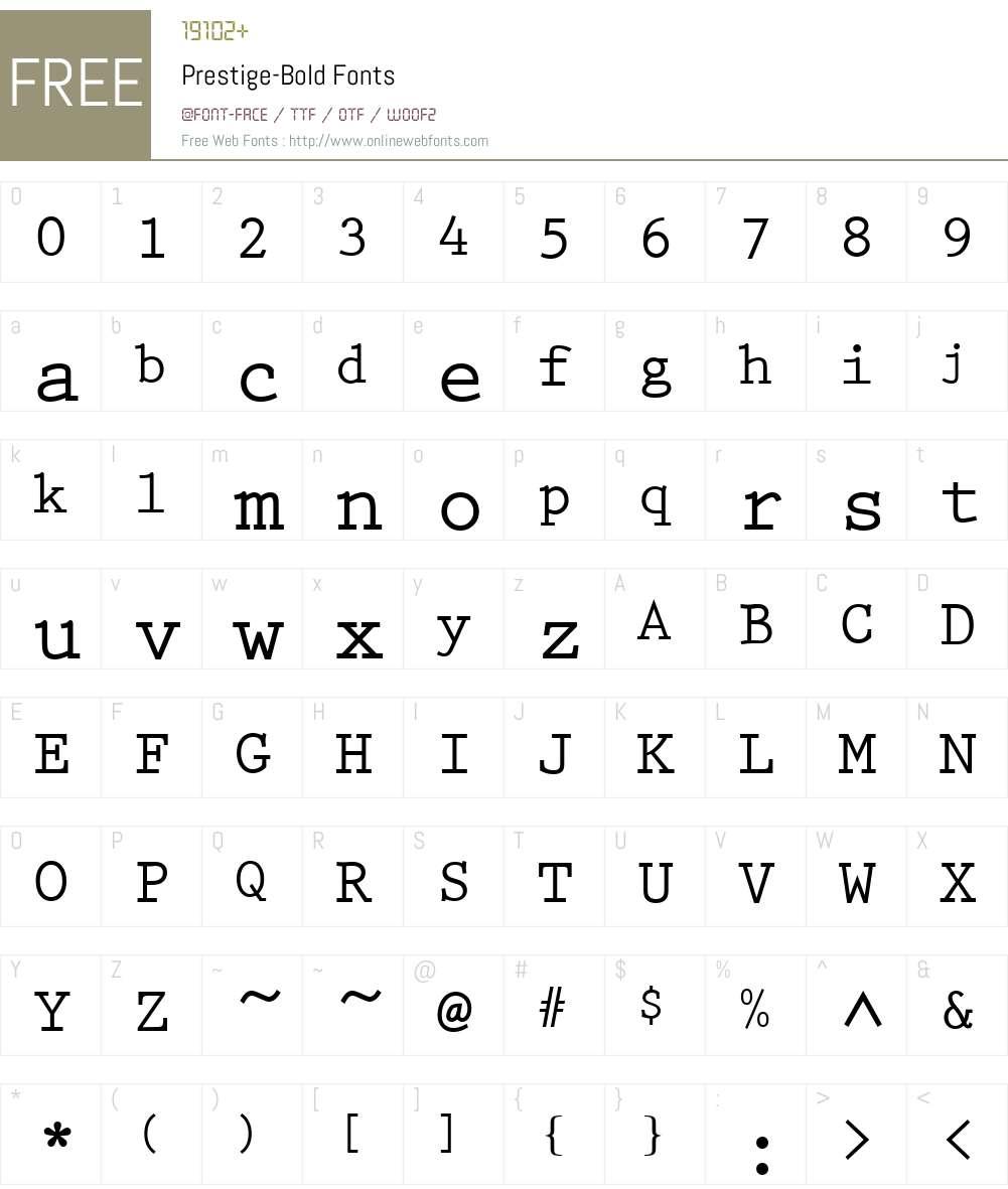 Prestige Font Screenshots