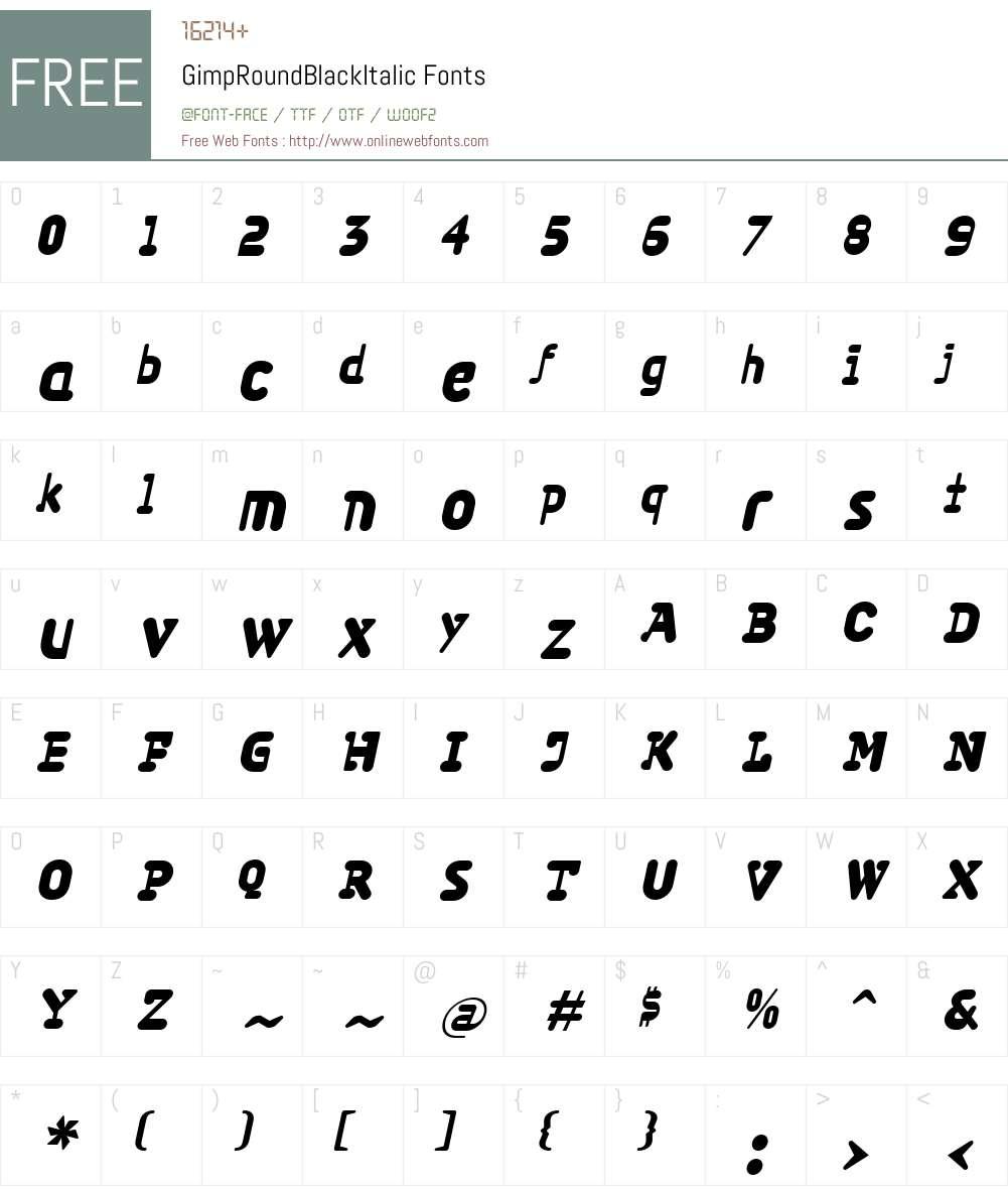 GimpW00-RoundBlackIt Font Screenshots