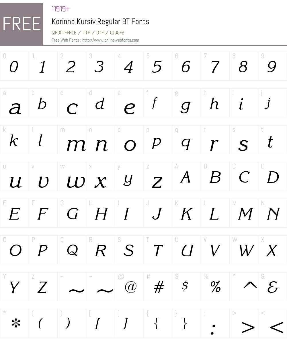 Korinna BT Font Screenshots