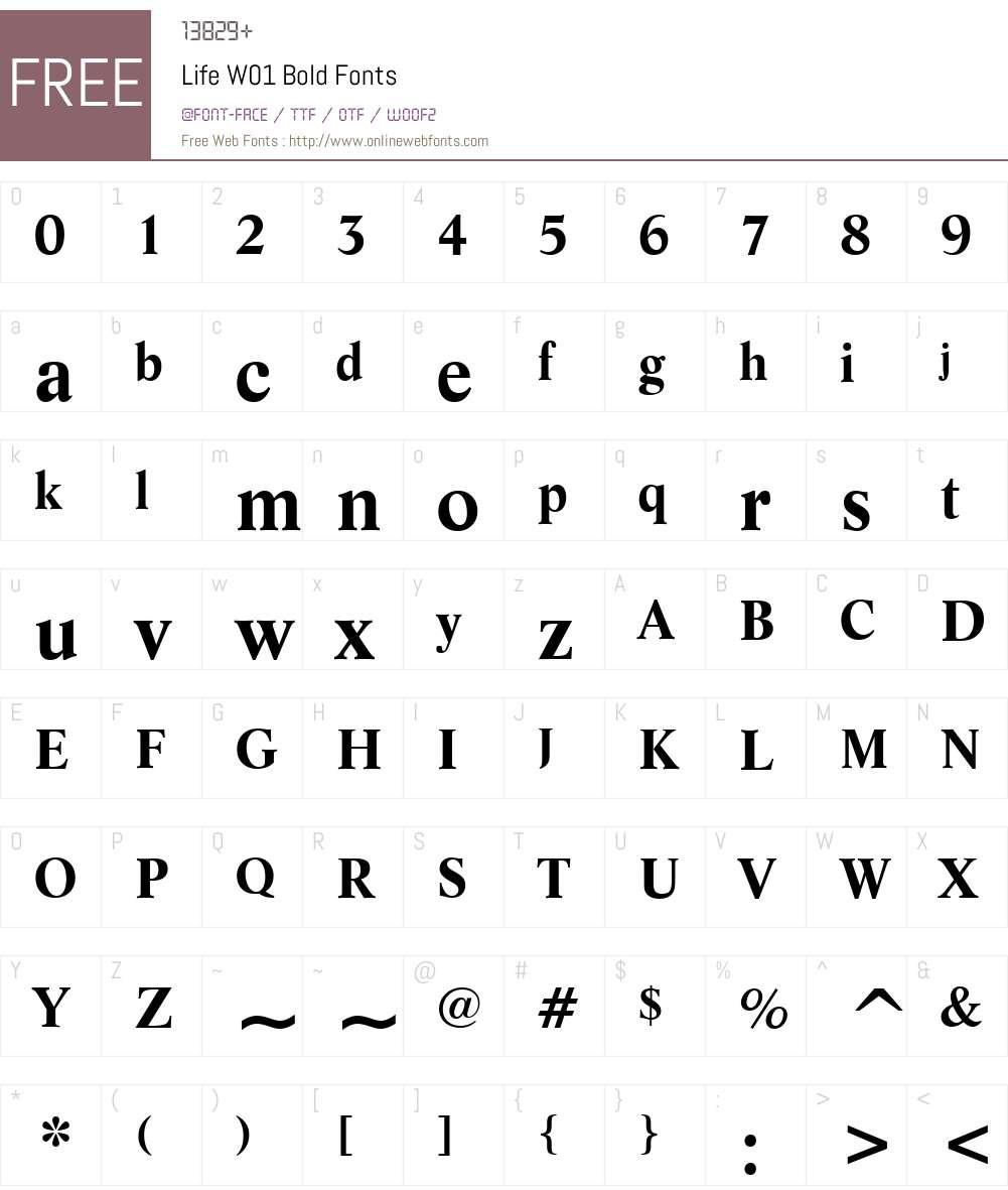 LifeW01-Bold Font Screenshots