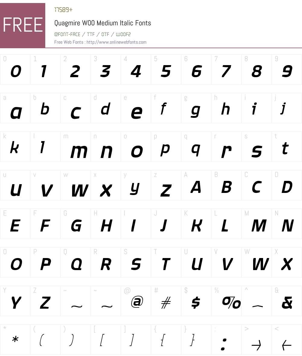QuagmireW00-MediumItalic Font Screenshots