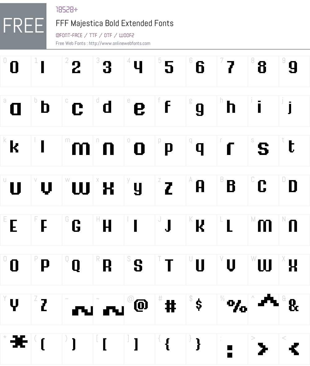 FFF Majestica Bold Extended Font Screenshots