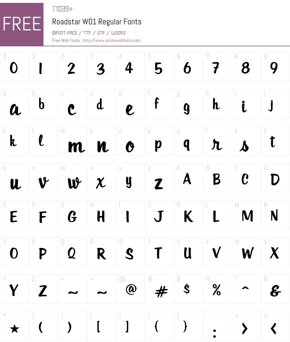 RoadstarW01-Regular Font Screenshots