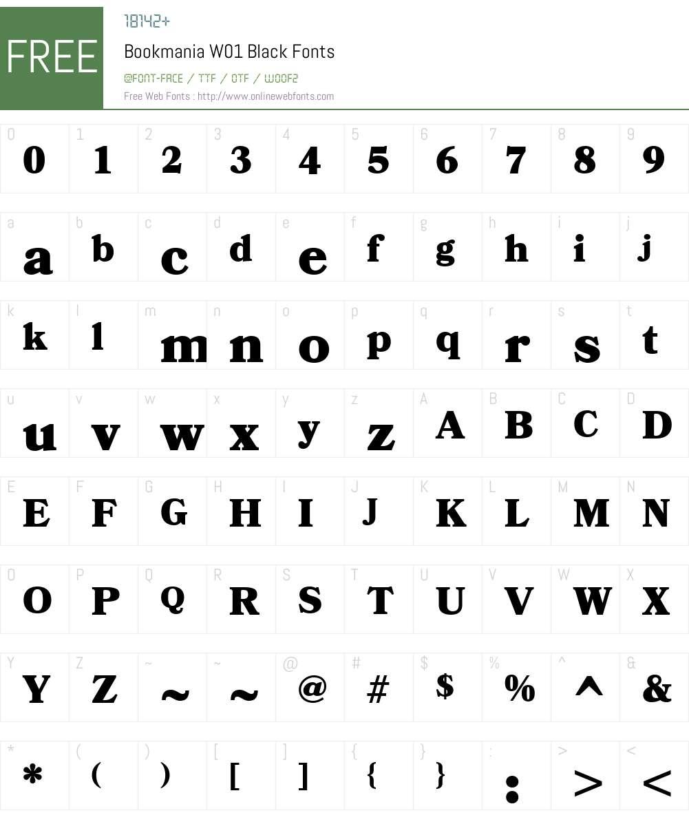 BookmaniaW01-Black Font Screenshots