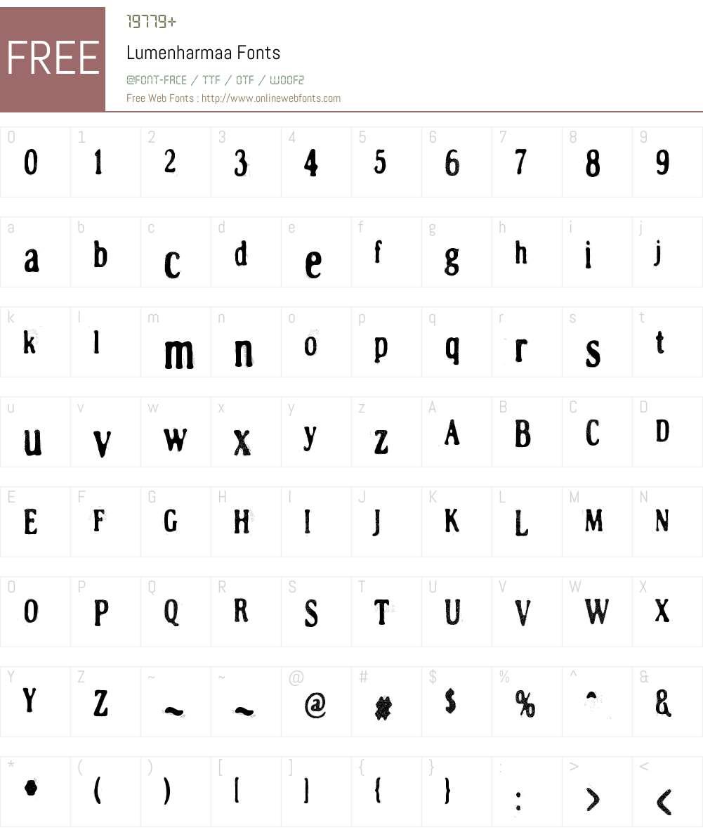 Lumenharmaa Font Screenshots