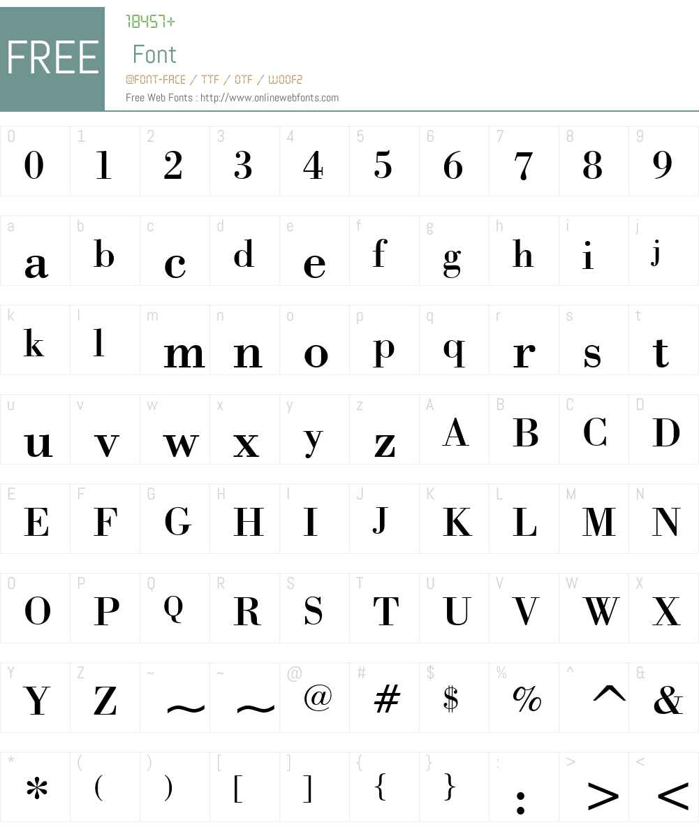 Bodoni BT Font Screenshots