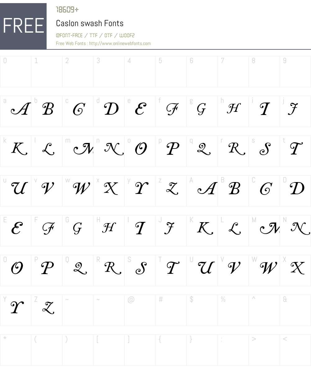Caslon swash Font Screenshots