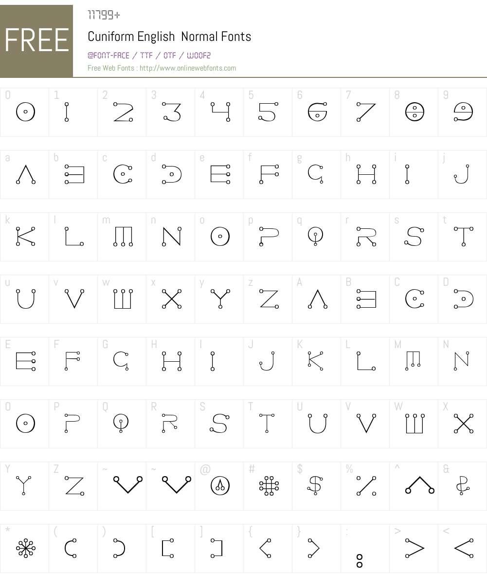 Cuniform English Font Screenshots