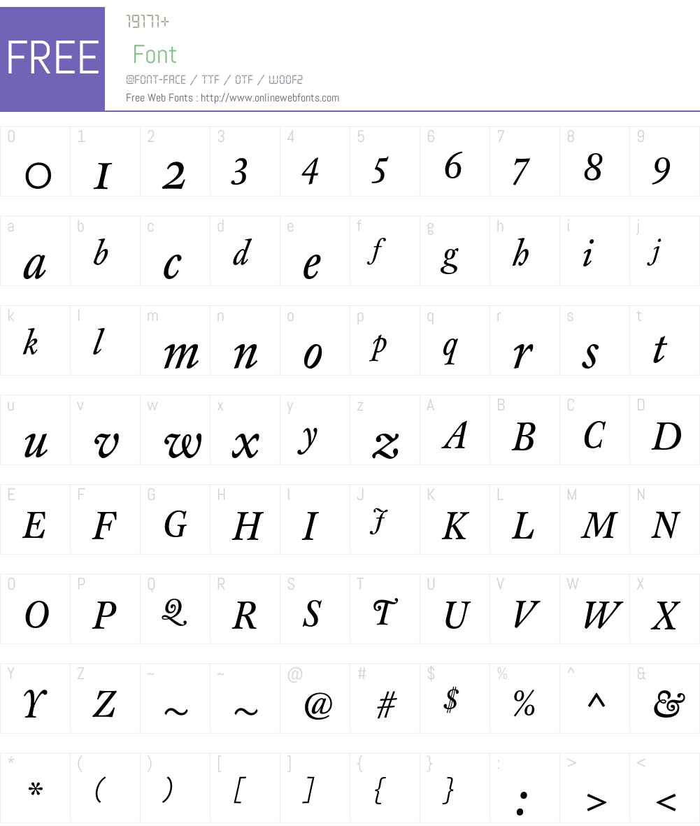 CliffordEighteen Font Screenshots