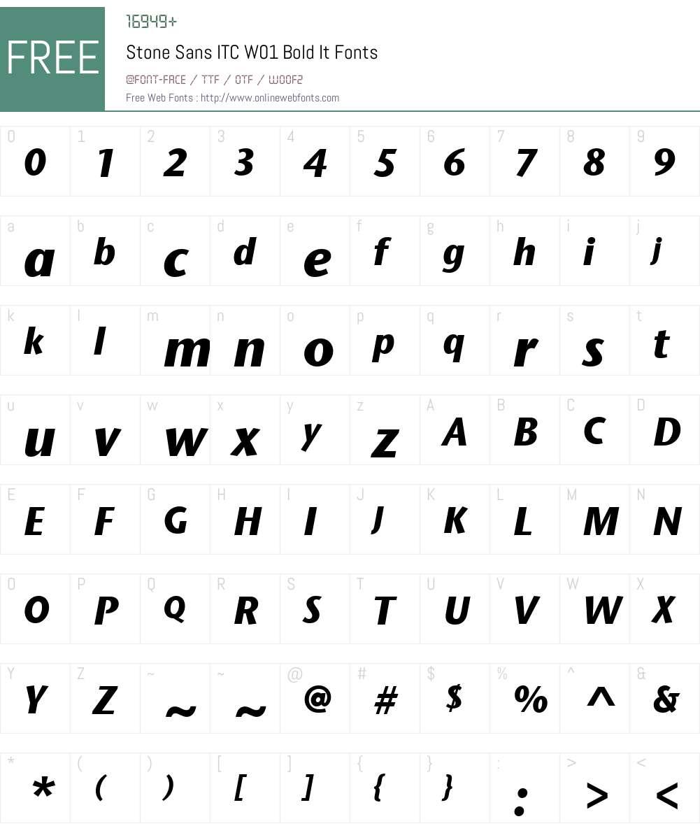 StoneSansITCW01-BoldIt Font Screenshots